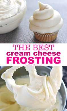 THE BEST Cream Cheese Frosting ~ SO good! THE BEST Cream Cheese Frosting ~ SO good! Sweet and slightly tangy, this quick and easy Cream Cheese Frosting comes together with just FOUR ingredients and complements a variety of cakes & cupcakes! Köstliche Desserts, Dessert Recipes, Healthy Desserts, Baking Recipes, Cookie Recipes, Beef Recipes, Whipped Cream Cheese Frosting, Creamcheese Frosting Recipe, Sweets