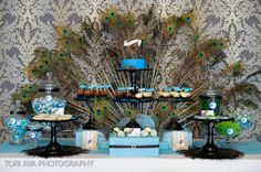 Egyptian Party : Decor Inspiration : Peacock food table display                                                                                                                                                     More