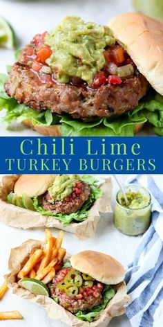 Grilled Chili Lime Turkey Burgers are juicy and flavorful turkey burgers. A healthy burger option when you want to grill dinner. Full of green chilies, lime zest, and chili powder along with seasonings and spices. Turkey Burger Recipes, Ground Turkey Recipes, Chicken Recipes, Beef Recipes, Healthy Recipes, Turkey Burger Seasoning, Ground Turkey Burgers, Healthy Turkey Burgers, Chili Burgers Recipe
