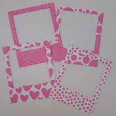 Stencilled Pink Baby Girl Instant Photo Frames Scrapbooking by KariLL on Etsy