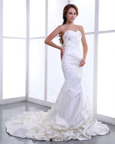 Ruffle Sweetheart Satin Court Mermaid Bridal Gown Wedding Dress