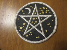 Black Silver Gold Embroidered Pentagram Patch