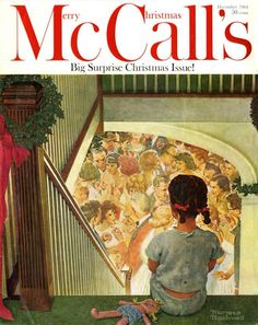 """McCall's cover 'Little Girl Looking Downstairs at Christmas Party' by Norman Rockwell, December 1964. Oil on board, 10 x 10 1/2"""""""