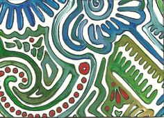 Summer Day #5  Marker and Gauche on paper by Heidi Wineland. ATC Artist Trading Card