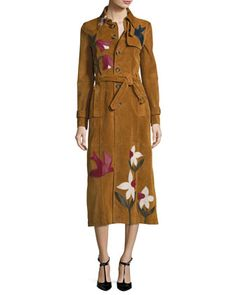 Suede+Trench+Coat+W/Leather+Patchwork,+Cognac+by+RED+Valentino+at+Neiman+Marcus.