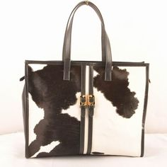 2567382d2c63af Fendi Black/White Ferrari Leather with Black Cowhair Leather Shopping Tote  Bag $289.00 Replica Handbags