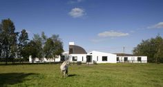 Award winning Irish Architecture, leading commercial and residential design service. School Architecture, Architecture Photo, Gable Wall, Modern Architectural Styles, Agricultural Buildings, Internal Courtyard, Copper Roof, Farm Yard, House Styles