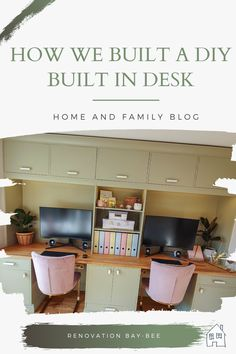 See how we built a DIY built in desk with storage. A built in desk for two works great on this wall as it creates lots of office storage and storage for family items. A built in desk along this wall means we can store office items away and it can be pretty too #builtindesk #builtin #diybuiltin Home Office Space, Home Office Decor, Diy Home Decor, Built In Desk, Moving House, Office Storage, Design Your Home, Office Interiors, Home Improvement Projects