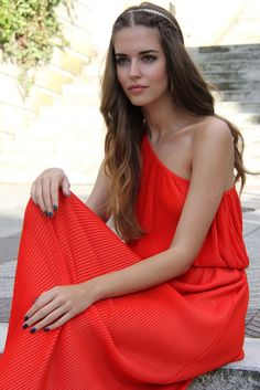 Pretty red, pleated, one shoulder dress.