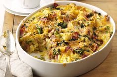 The tempting combo of spinach, cheese and bacon creates magic yet again in this crowd-pleasing egg bake.