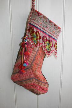 bohemian chic christmas stocking boho style vintage