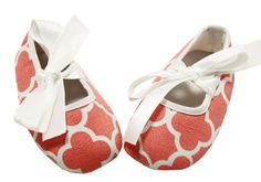 Peach Waverly Print Crib Shoes