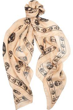 d8104eb5c171 Alexander McQueen Skull-print silk-chiffon scarf  womens  skull-print   silk chiffon  scarf  love  wantering