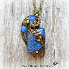 Lapis Lazuli Wire Wrapped Pendant Necklace in Antique Bronze by CareMoreCreations.com, $25.00