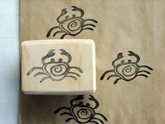 Hand Carved Rubber Stamp - Crab