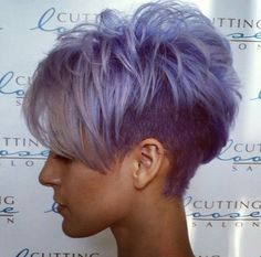 Short Grey Purple Hair Cuts for Girls Corte Y Color, Cute Hairstyles For Short Hair, Blonde Hairstyles, Simple Hairstyles, Hairstyles Men, Everyday Hairstyles, Edgy Pixie Hairstyles, Asian Hairstyles, Asymmetrical Hairstyles