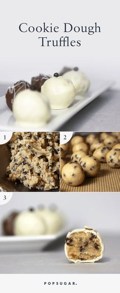 Most will admit that cookie dough is the best (if only) reason for making cookies, but these incredible cookie dough truffles from The Cookie Dough Lover's Cookbook skip the whole nonsensical baking part. There's no egg in the batter. Instead, heavy whipping cream helps bind the dough together. To shape the truffles easier, pop the dough in the freezer to firm it up. Also, try wearing powder-free gloves while rolling the balls to prevent your hands from warming up the dough.