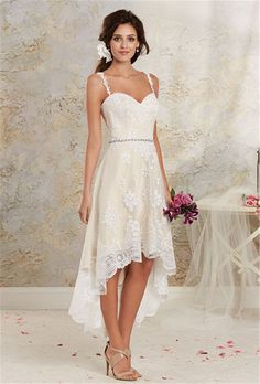 2016 Vintage High Low Country Wedding Dresses Cheap New Sexy Spaghetti Lace Tea length Short Detachable Skirt Bohemian Bridal Gowns Rustic Bridal Dresses
