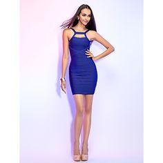 Sheath/Column Straps Short/Mini Elegance Bandage Dress – USD $ 99.99