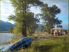 For a truly unique experience, ask us about spending the night on an island in the Yellowstone River, accessible only by boat. We'll arrange to have your camp rea. Fly Fishing Boats, River Camp, Luxury Camping, Rafting, Glamping, Montana, Destinations, Island, Night