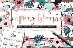 Spring Blooms clip art +branding kit #partnerlink