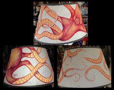Painted Octopus Lamp Shade Painting Lamp Shades, Painting Lamps, Octopus Lamp, Octopus Painting, Homemade, Decor, Art, Art Background, Decoration