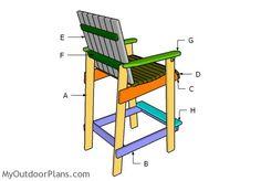 Building a bar height adirondack chair