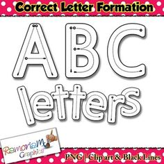 Alphabet letter tracing clip art showing the correct formation of each letter. Commercial use ok. This set contains 73 letters (upper and lower case) in black and white, each letter shows the correct letter formation.Ideal for letter tracing and similar Alphabet Tracing, Monogram Alphabet, Alphabet Crafts, Name Practice, Preschool Literacy, Preschool Ideas, Teaching Kindergarten, Preschool Crafts, Playdough Activities