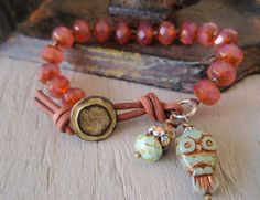 Owl boho bracelet - Hoot  - plum pink opal , mint green slashKnots slipKnots  Sterling silver charm leather, rustic cottage chic nature