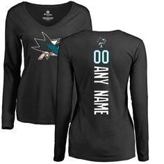 43d078591ab San Jose Sharks Fanatics Branded Women's Personalized Backer Long Sleeve T- Shirt - Black