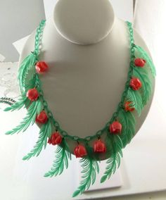 Vintage Early Soft Plastic Celluloid Leaves and Roses Necklace - Vintage Lane Jewelry - 2
