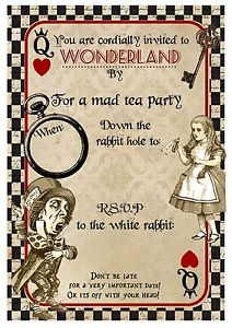 Details about  8 Vintage Alice in Wonderland Playing Card Invitations Party,Tea Party,Wedding