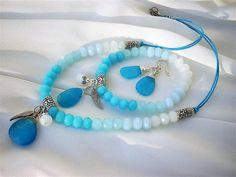 Water crystal set polished crystal necklace bracelet