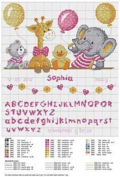 Risultati immagini per cross stitch baby Baby Cross Stitch Patterns, Cross Stitch For Kids, Cross Stitch Baby, Cross Stitch Alphabet, Cross Stitch Animals, Cross Stitch Charts, Cross Stitch Designs, Baby Embroidery, Cross Stitch Embroidery