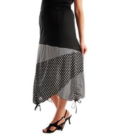 Look what I found on #zulily! Black & White Mixed Media Skirt - Plus by Lily #zulilyfinds