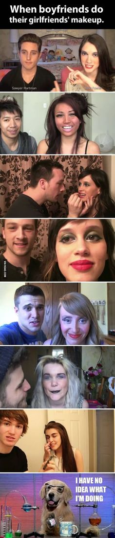Funny pictures about When Guys Do Their Girlfriends' Makeup. Oh, and cool pics about When Guys Do Their Girlfriends' Makeup. Also, When Guys Do Their Girlfriends' Makeup photos. Funny Pins, Funny Memes, Jokes, Funny Stuff, Funny Humour, Funny Videos, Random Stuff, Can't Stop Laughing, Laughing So Hard