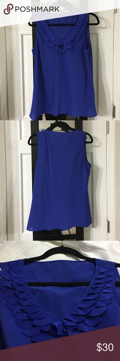 Blue blouse Ruffle detail shirt! Worn once on a job interview and I got the job! So it maybe your lucky shirt too! Alfani Tops Tank Tops