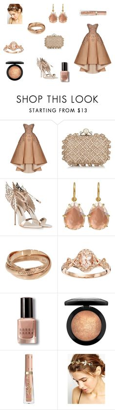 """""""Rose Gold Cinderella"""" by reagodo ❤ liked on Polyvore featuring Maison Yeya, Jimmy Choo, Sophia Webster, Cartier, Bobbi Brown Cosmetics and WithChic"""