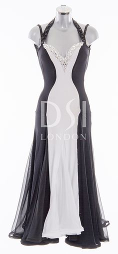 Black and White Ballroom Dress as worn by Caroline Flack on Strictly Come Dancing 2014. Designed by Vicky Gill and produced by DSI London