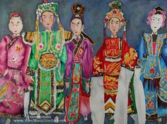 More Info at: www.kimminichiello.com, www.facebook.com/KimMinichielloArtist This painting was inspired by the many Chinese Opera puppets I saw on display wondering through Cat Street Market in Hong Kong.  #art #painting #watercolor #Asia #HongKong #travel #puppets