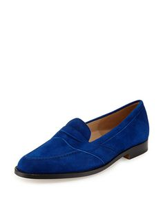 Consulta Suede Penny Loafer, Blue by Manolo Blahnik at Neiman Marcus. #ColorMeMBlahnikBBPumps #ShopWithMsSanta