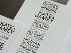 Really liking the alignment on these letterpress wedding announcements. And you can never go wrong with Helvetica.