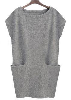 Pocket Decorated Solid Grey Shift Dress