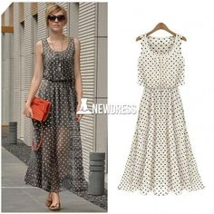 New Elegant Womens Spring Long Chiffon Polka Dot Sleeveless Maxi Dresses