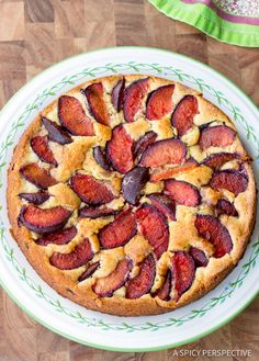 Fresh Plum Cake - A rust yet elegant cake that is easy to make and easy to love! Serve it in the summer with seasonal plums and around the holidays, as a