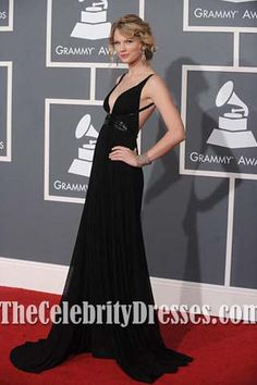 Taylor Swift Red Carpet Dress Black Prom/ Evening Gown 51st Grammy Awards