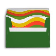 Green Retro Waves Envelope - spring gifts style season unique special cyo