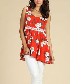 dcf7c8df959 Love this Red Floral Sleeveless Tunic - Women  amp  Plus on  zulily!