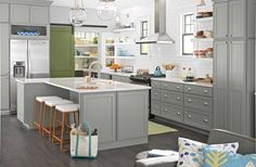 The gray cabinets!