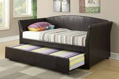 Daily Deals!  F9221 Day Bed $279.00   Invite guest over for a sleepover in this twin bed with lower trundle. Covered in dark brown faux leather, it makes for a great addition to a guest bedroom.  * W/ 12 Slats + Trundle  Mattress sold separately.